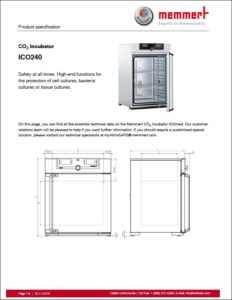 Memmert ICO240 CO2 incubator product specification sheet